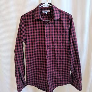 Express Plaid Ultra Slim Fit Button Down Blouse